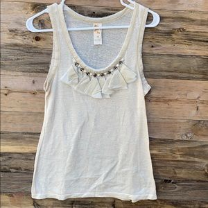 Anthropologie | C. Keer Fringe Embellished Tank M
